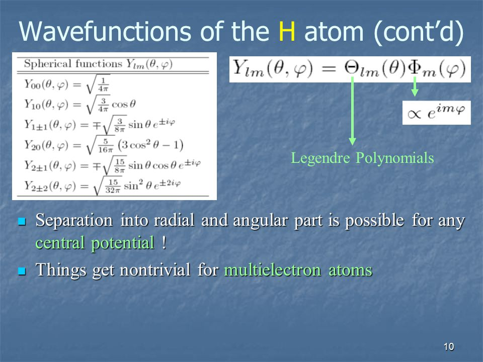 Wavefunctions of the H atom (cont'd)