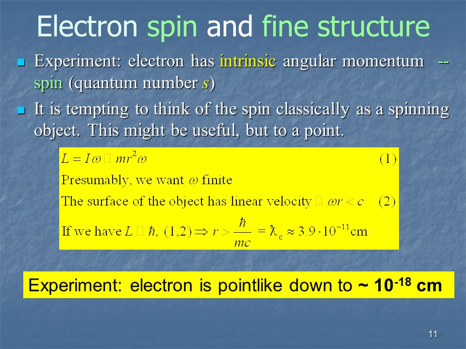 Electron spin and fine structure