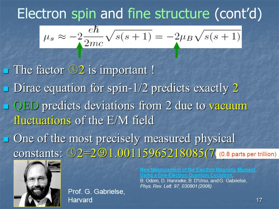 Electron spin and fine structure (cont'd)