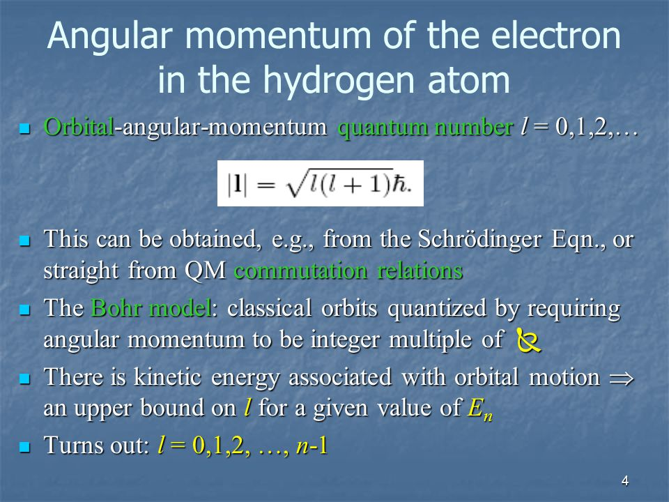 Angular momentum of the electron in the hydrogen atom
