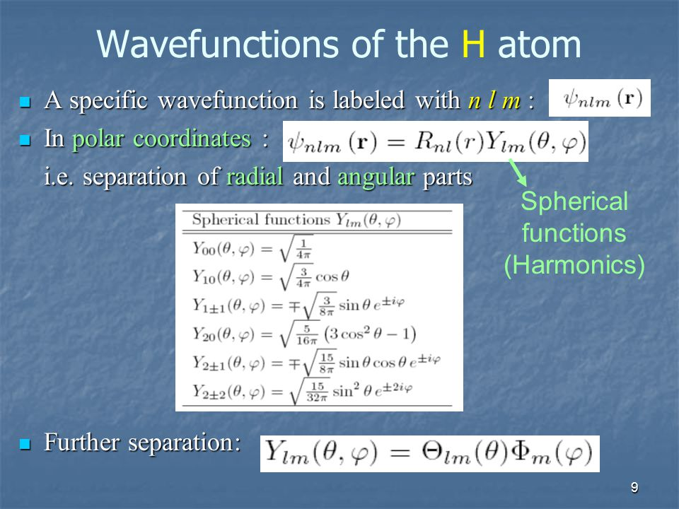Wavefunctions of the H atom