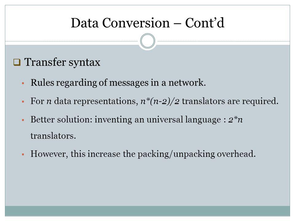 Data Conversion – Cont'd