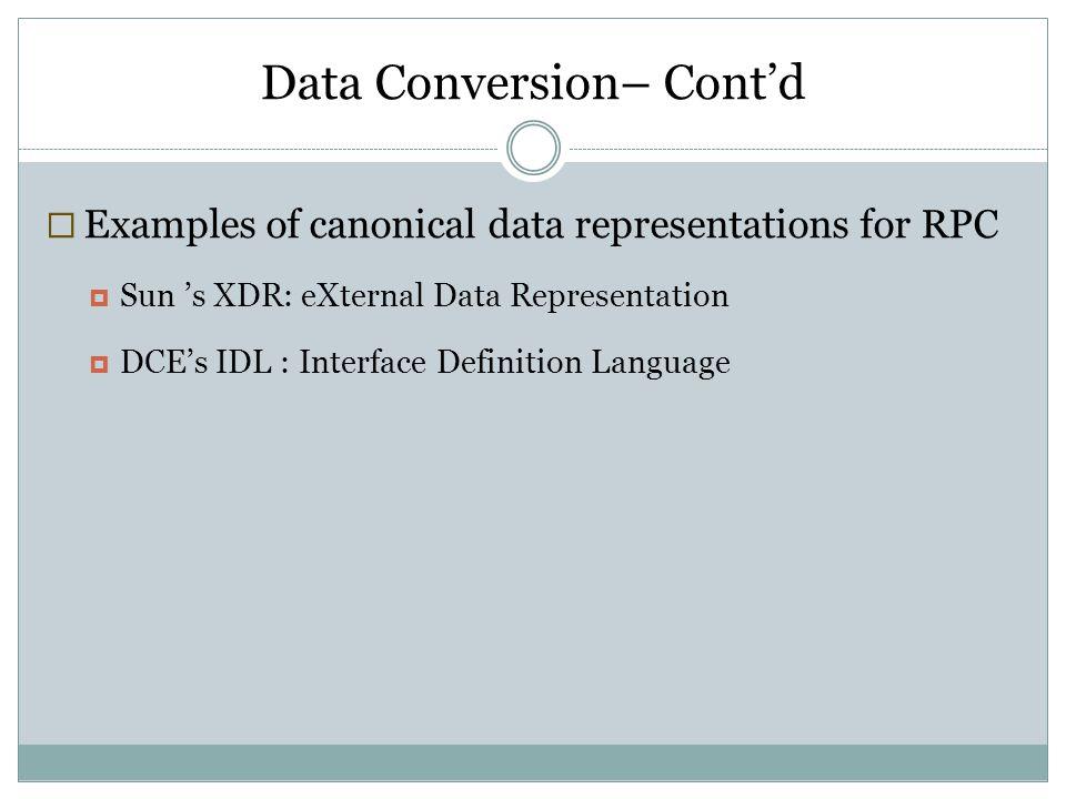 Data Conversion– Cont'd