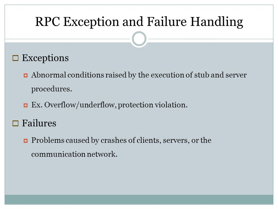 RPC Exception and Failure Handling