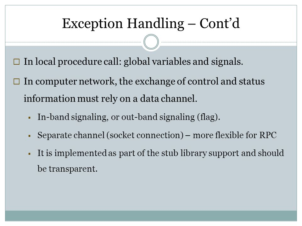 Exception Handling – Cont'd