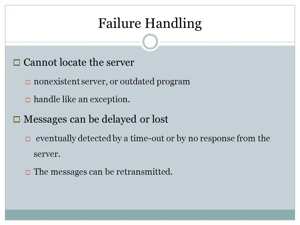 Failure Handling Cannot locate the server