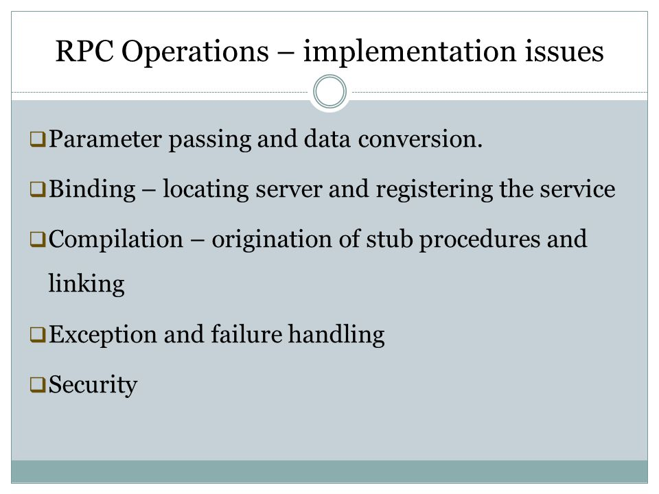 RPC Operations – implementation issues