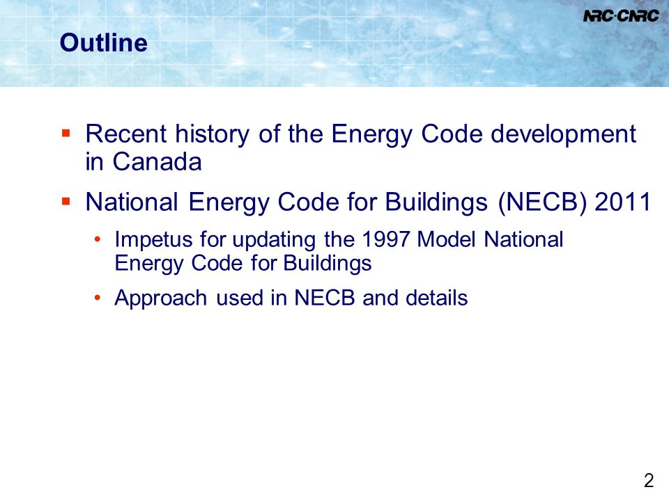 Recent history of the Energy Code development in Canada