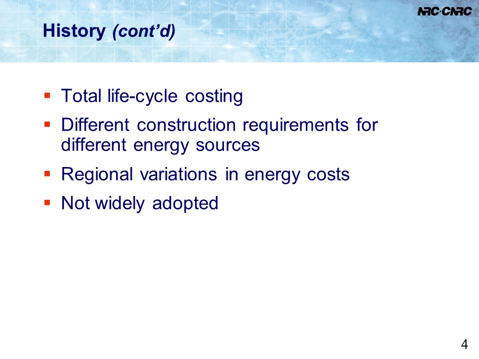 Total life-cycle costing