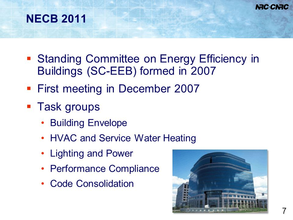 First meeting in December 2007 Task groups
