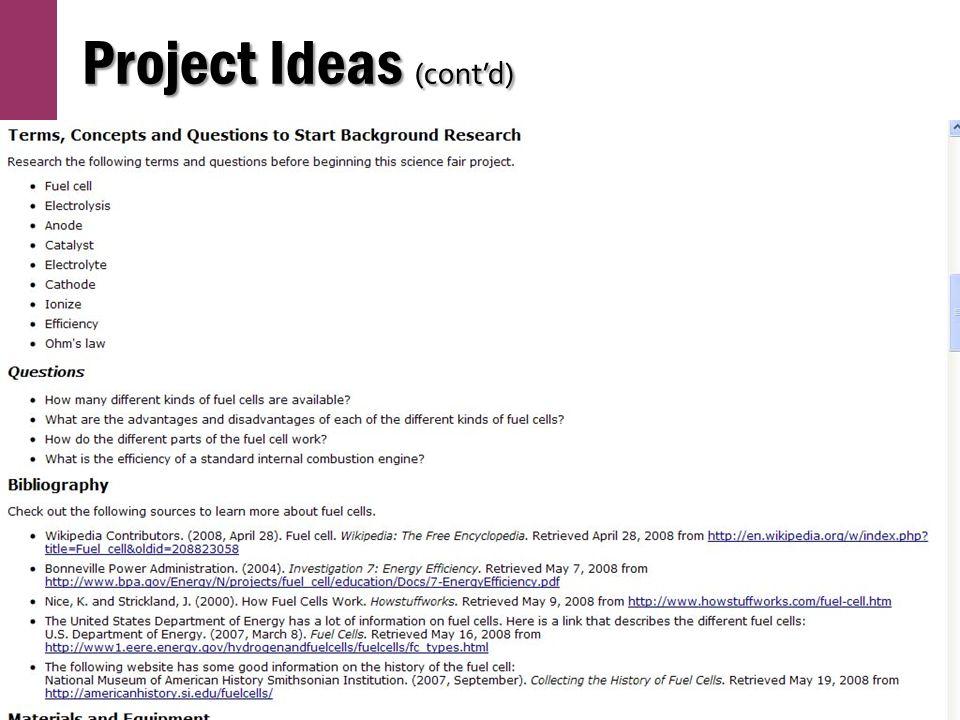 Project Ideas (cont'd)