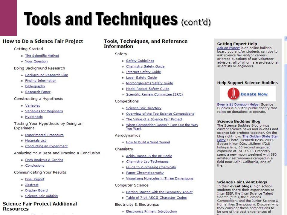 Tools and Techniques (cont'd)