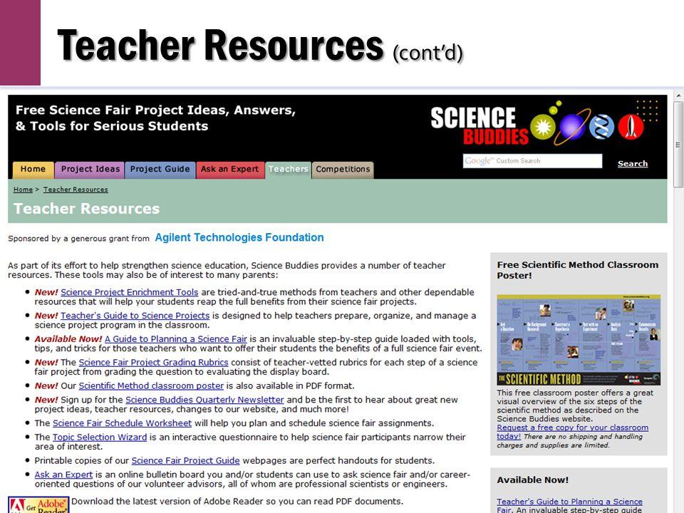 Teacher Resources (cont'd)