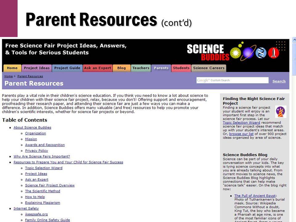 Parent Resources (cont'd)
