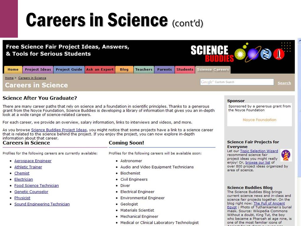 Careers in Science (cont'd)
