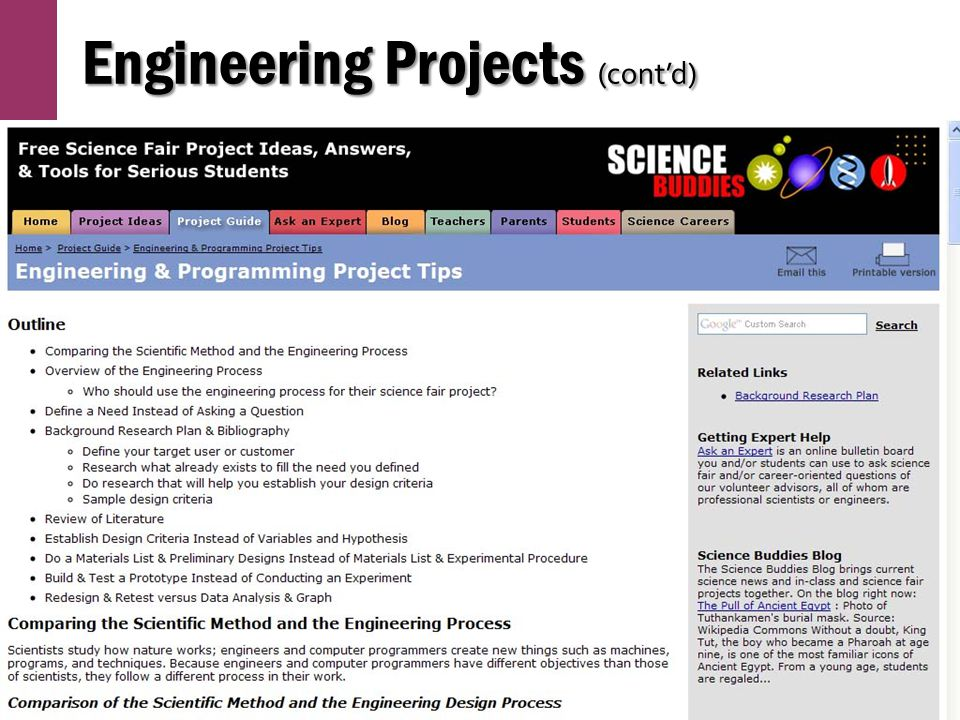 Engineering Projects (cont'd)