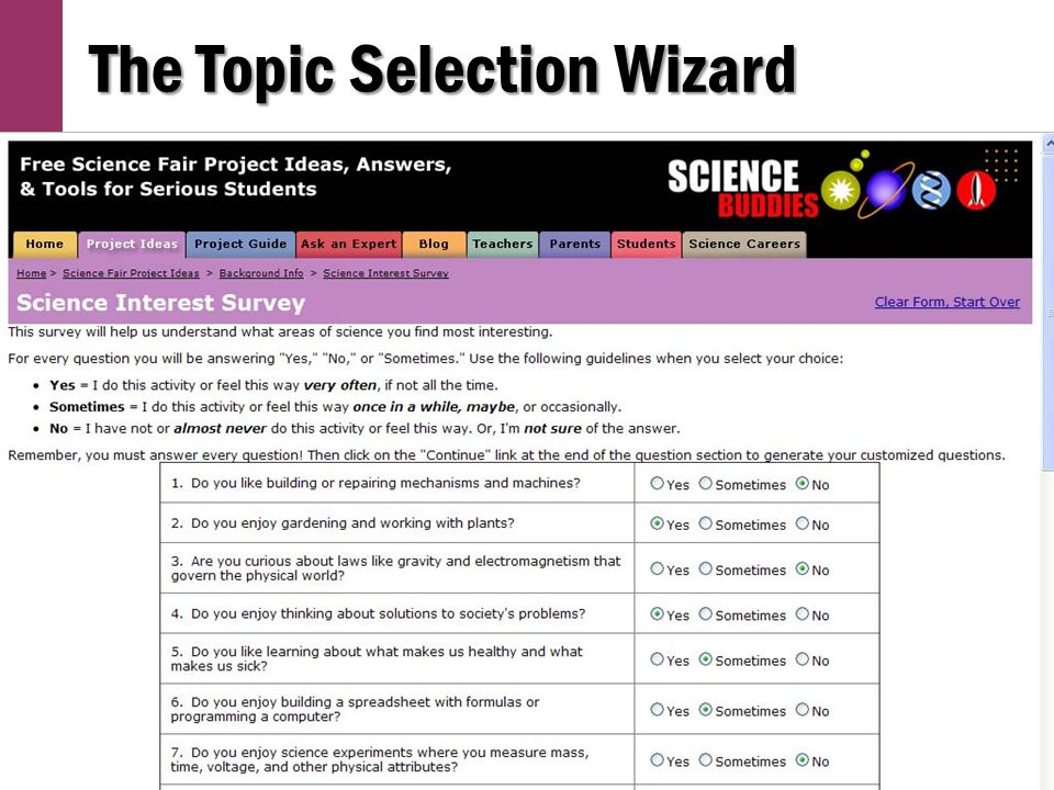 The Topic Selection Wizard