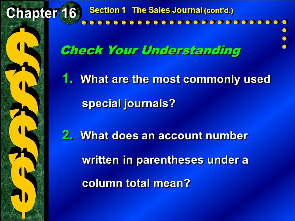 $ $ $ $ 1. What are the most commonly used special journals