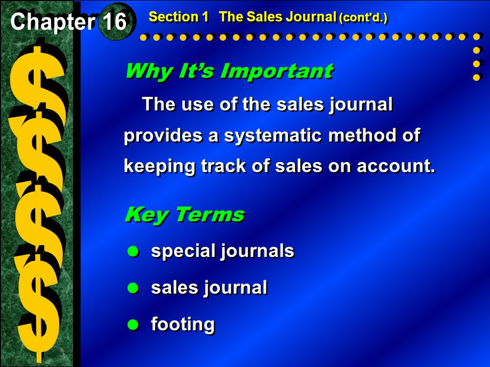 $ $ $ $ Why It's Important Key Terms Chapter 16 special journals