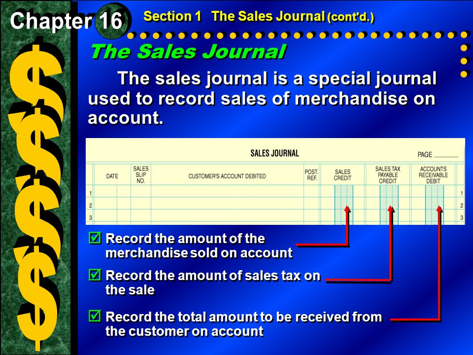 $ $ $ $ The Sales Journal Chapter 16