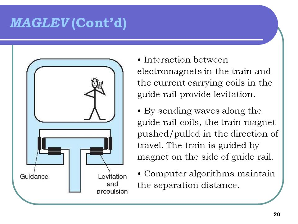 MAGLEV (Cont'd) Interaction between electromagnets in the train and the current carrying coils in the guide rail provide levitation.