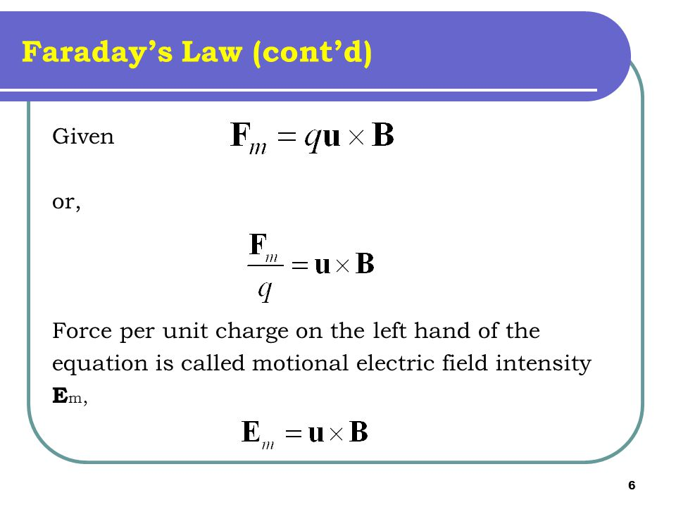 Faraday's Law (cont'd)