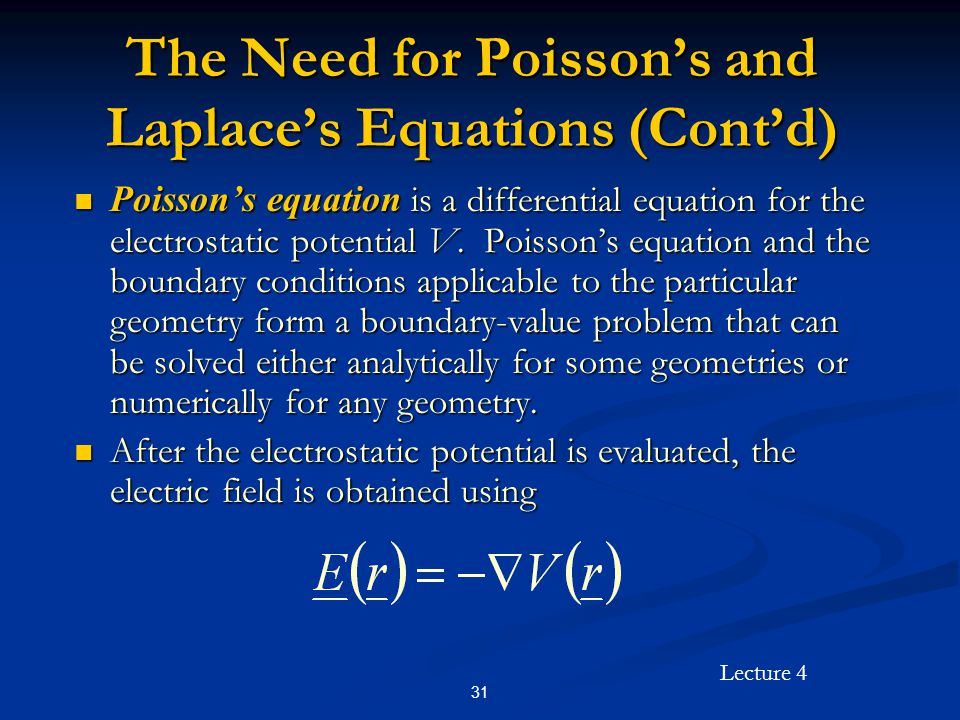 The Need for Poisson's and Laplace's Equations (Cont'd)