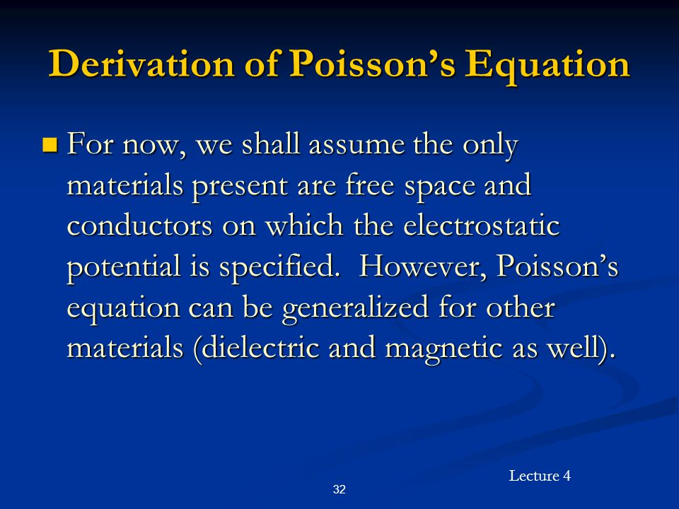 Derivation of Poisson's Equation
