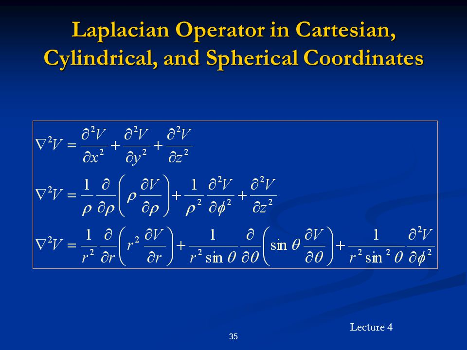 Laplacian Operator in Cartesian, Cylindrical, and Spherical Coordinates