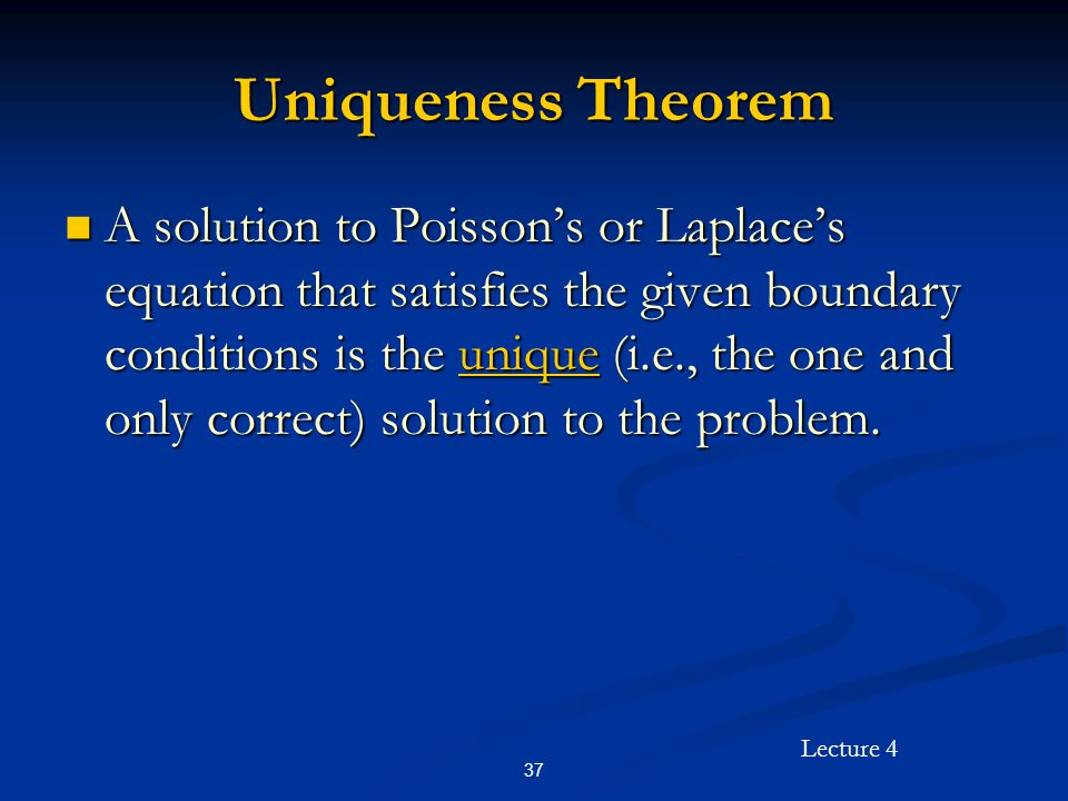 Uniqueness Theorem
