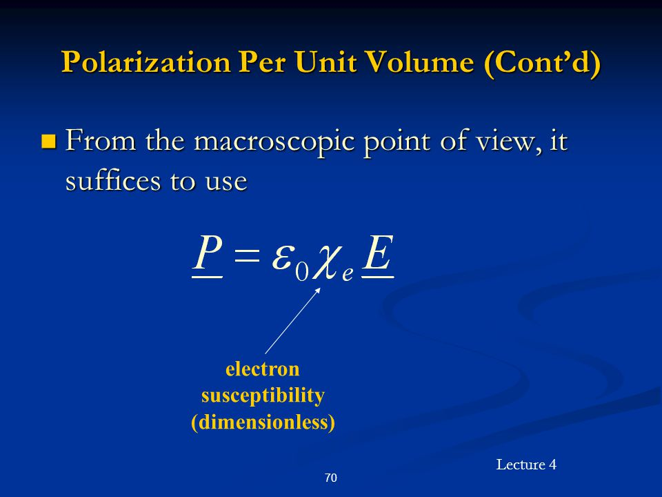 Polarization Per Unit Volume (Cont'd)