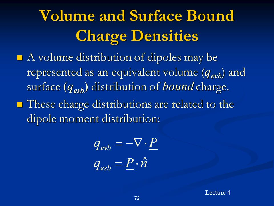 Volume and Surface Bound Charge Densities
