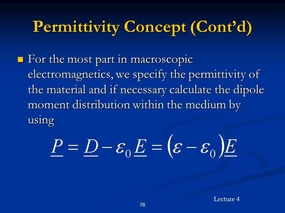 Permittivity Concept (Cont'd)