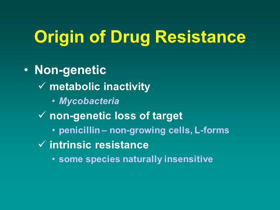 Origin of Drug Resistance