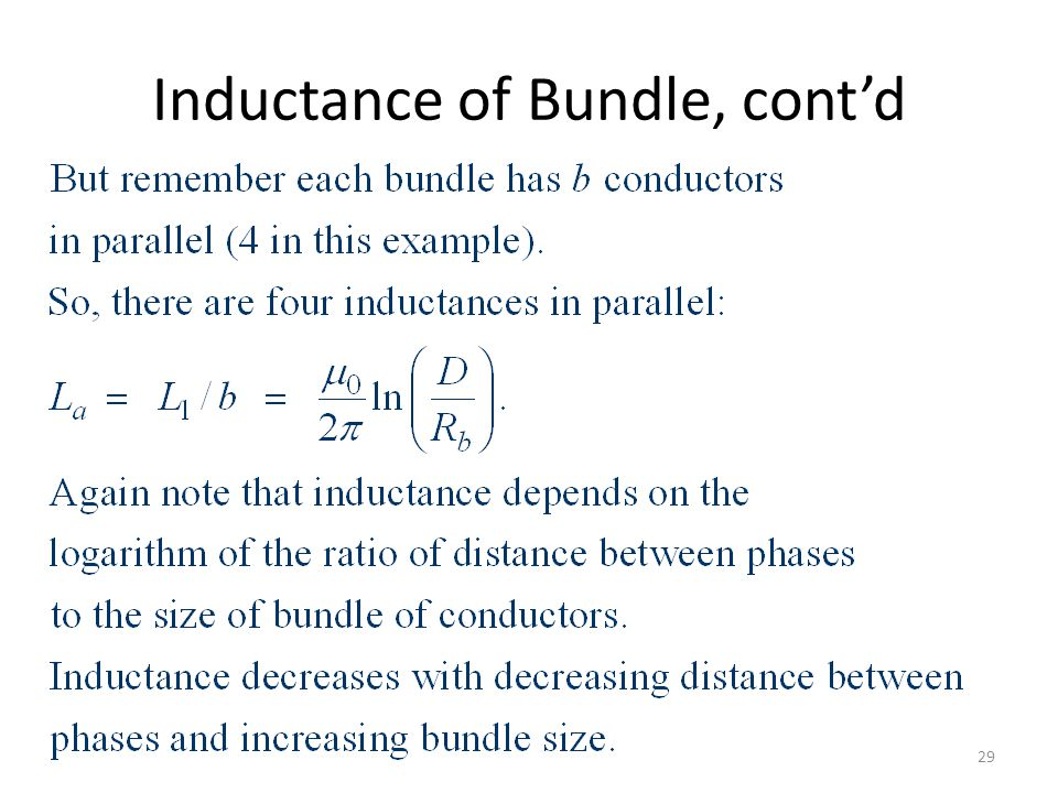 Inductance of Bundle, cont'd