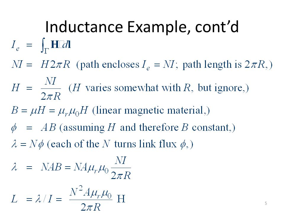 Inductance Example, cont'd
