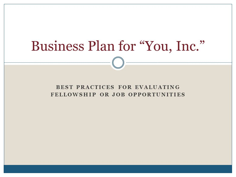 Business Plan for You, Inc.