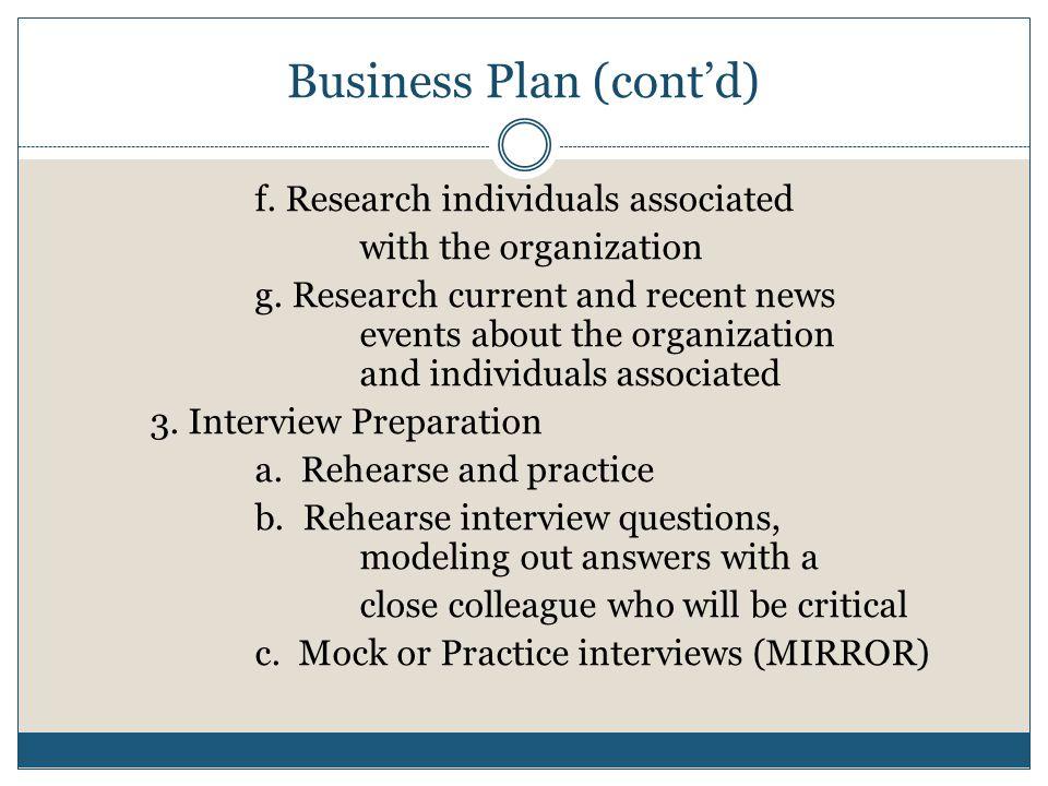 Business Plan (cont'd)