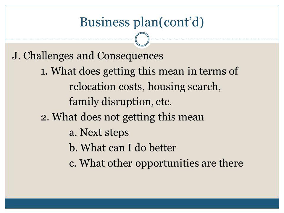 Business plan(cont'd)