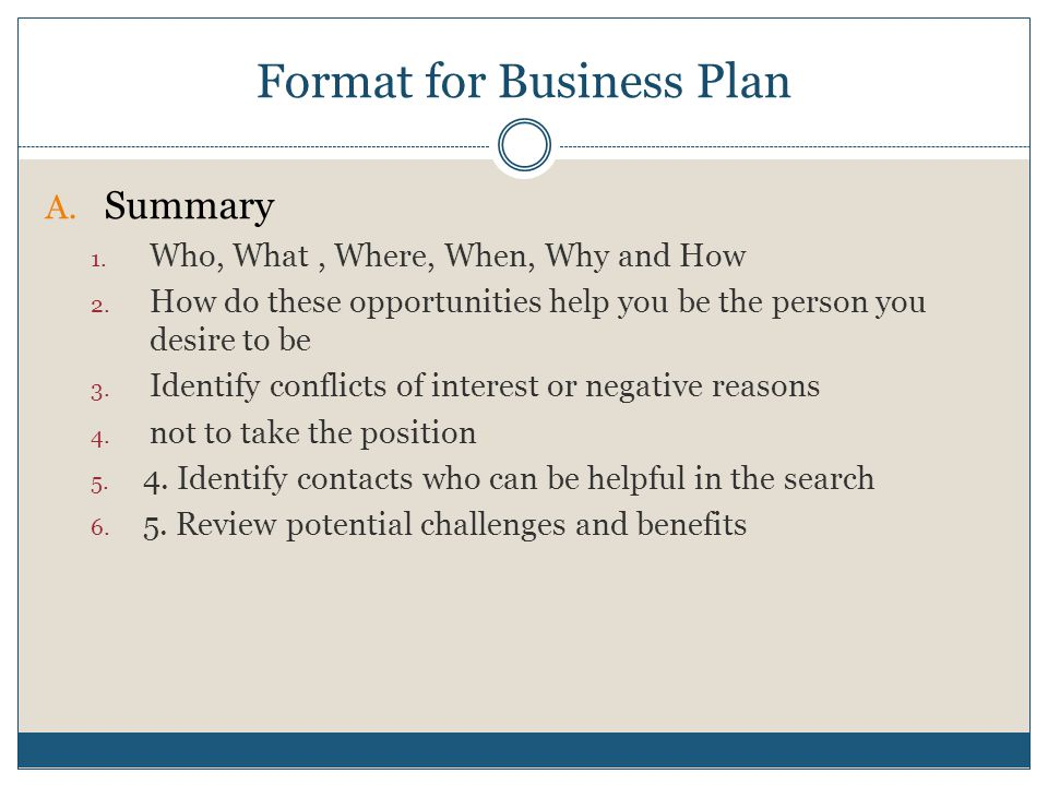 Format for Business Plan