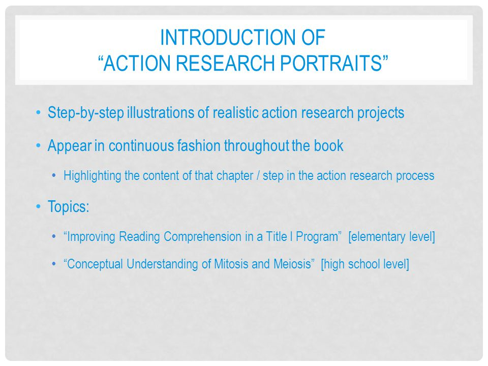 Introduction of action research portraits