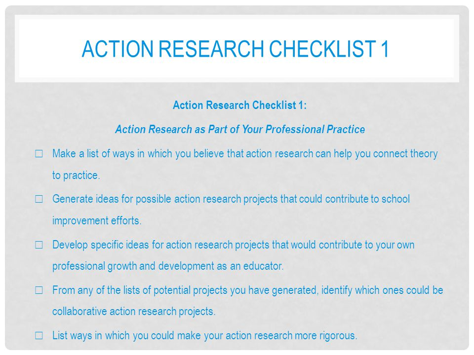 Action research checklist 1