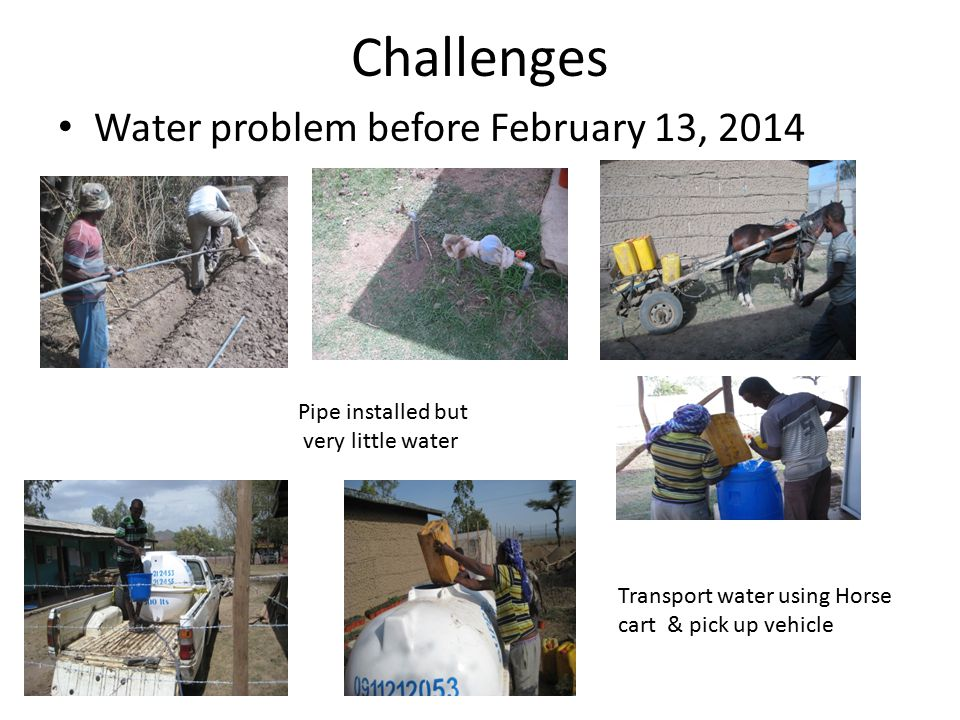 Challenges Water problem before February 13, 2014 Pipe installed but