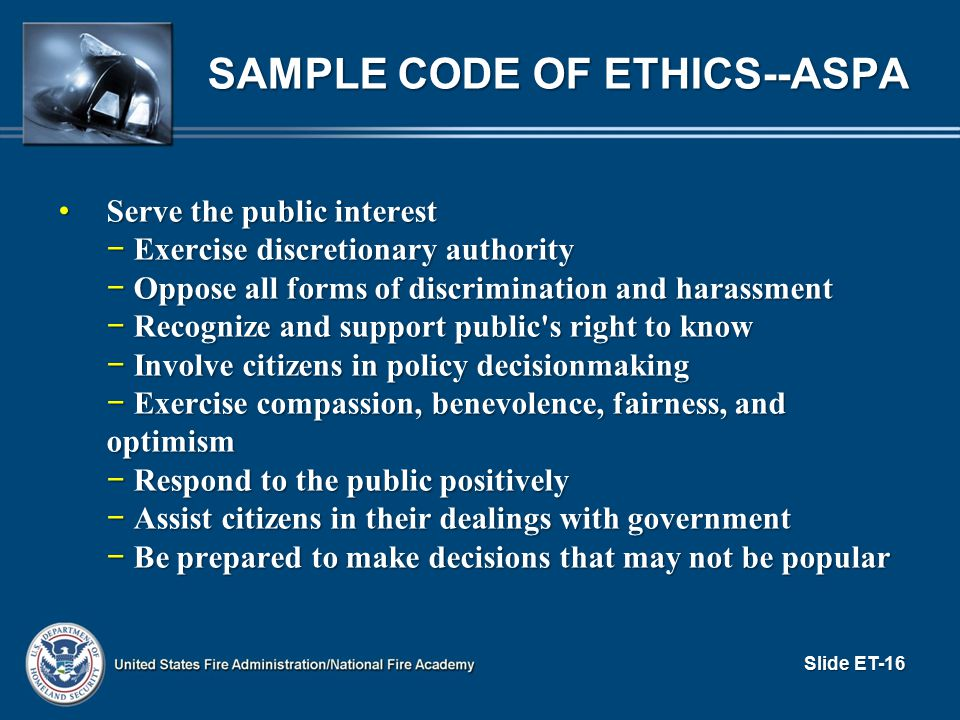 Sample Code of Ethics--ASPA
