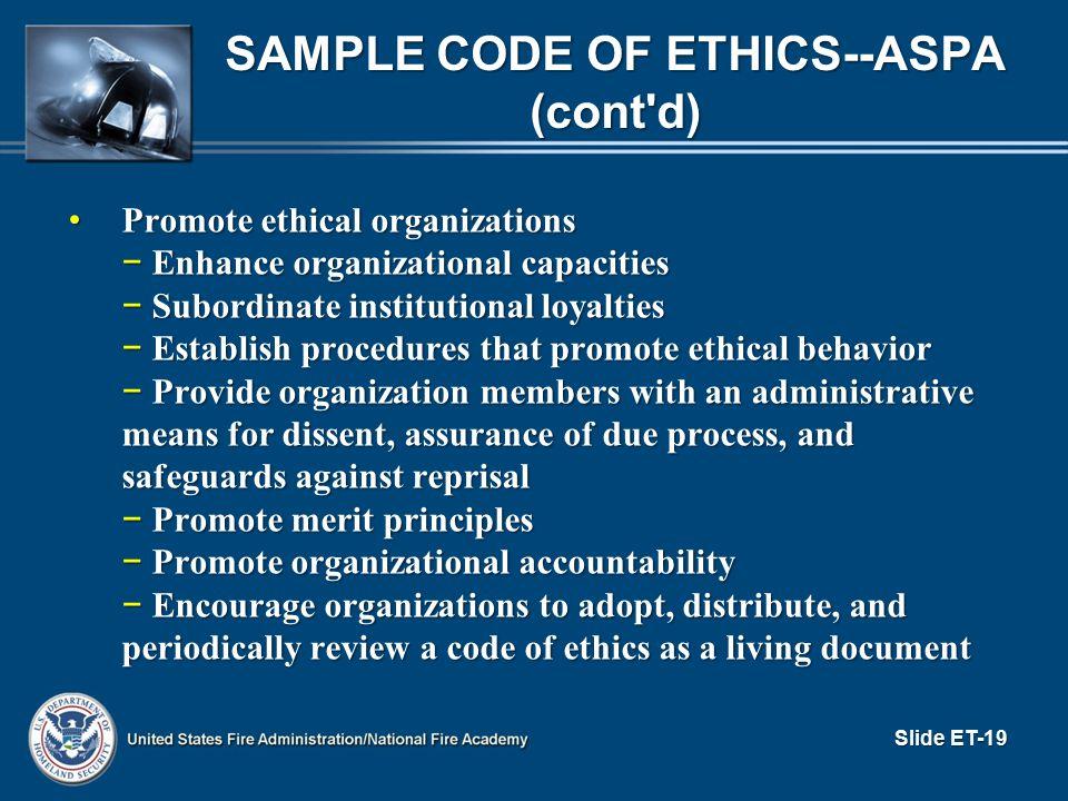 Sample Code of Ethics--ASPA (cont d)