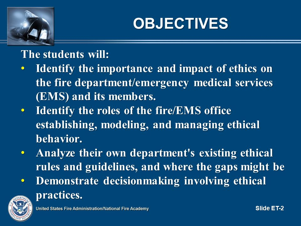 Objectives The students will: