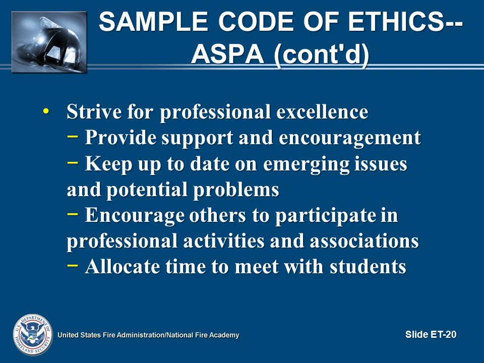 Sample Code of Ethics--ASPA (cont d)