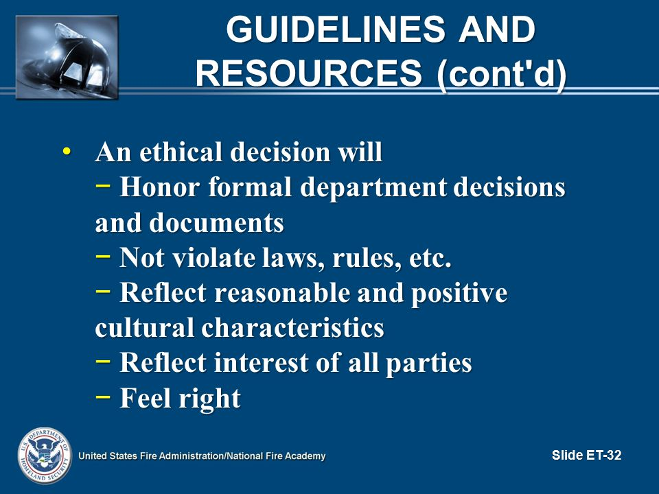 Guidelines and Resources (cont d)