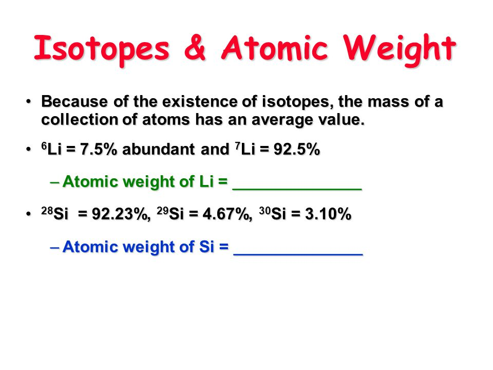 Isotopes & Atomic Weight