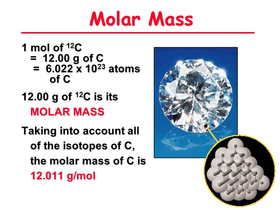 Molar Mass 1 mol of 12C = 12.00 g of C = 6.022 x 1023 atoms of C